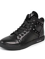 Недорогие -Муж. обувь Кожа Весна Осень Удобная обувь Кеды Заклепки для Повседневные на открытом воздухе Черный