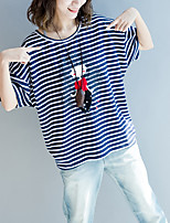 abordables -Mujer Borla - Algodón Camiseta A Rayas Manga Farol