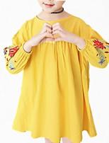 baratos -Menina de Vestido Diário Floral Primavera Outono Algodão Poliéster Manga Longa Simples Fofo Azul Marinha Amarelo