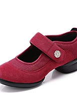 cheap -Women's Dance Sneakers Tulle Canvas Sneaker Outdoor Crystal/ Rhinestone Chunky Heel Red 1 - 1 3/4 Customizable