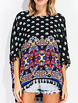 cheap -Women's Basic Batwing Sleeve T-shirt - Geometric, Print