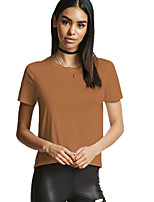 cheap -Women's Holiday Simple Street chic Cotton Slim T-shirt - Solid Colored, Backless