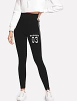 abordables -Femme Sportif Legging - Lettre Taille haute