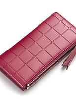 cheap -Women's Bags PU Wallet Zipper for Casual Office & Career All Seasons Blue Green Black Blushing Pink Wine