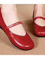 cheap -Women's Shoes Cowhide Spring Fall Comfort Flats Flat Heel for Casual Red