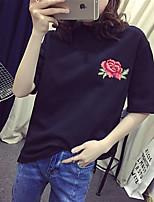 abordables -Tee-shirt Femme, Couleur Pleine - Brodée simple