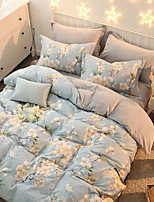 cheap -Duvet Cover Sets Floral 4 Piece Poly/Cotton Reactive Print Poly/Cotton 1pc Duvet Cover 1pc Sham 1pc Flat Sheet