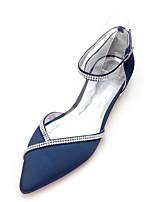 abordables -Femme Chaussures Satin Printemps Eté D'Orsay & Deux Pièces Confort Chaussures de mariage Talon Plat Bout pointu Strass pour Mariage