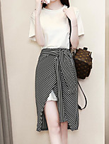 cheap -Women's Basic Blouse - Solid Colored Striped, Print Skirt