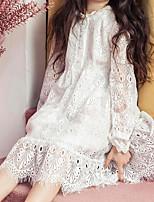 abordables -Vestido Chica de Diario Un Color Algodón Poliéster Manga Larga Primavera Otoño Simple Blanco