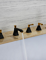 cheap -Bathtub Faucet - Contemporary Painting Ti-PVD Widespread Brass Valve