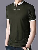 cheap -Men's Street chic Polo - Color Block Shirt Collar