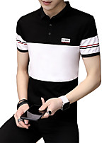 cheap -Men's Sports Basic Street chic Cotton Slim Polo - Solid Colored Color Block, Print Shirt Collar