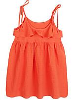 Недорогие -Девичий Платье Повседневные Хлопок Однотонный Весна Лето Очаровательный Активный Оранжевый