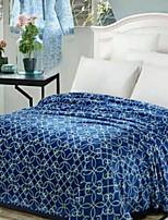 baratos -Velocino de Coral, Impressão Reactiva Geométrica Floral / Botânico Poliéster / Poliamida cobertores