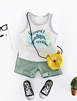 cheap -Unisex Daily Print Clothing Set, Cotton Spring Sleeveless Simple Green