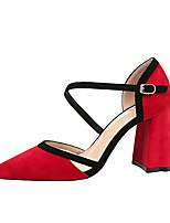 abordables -Femme Chaussures Daim Printemps Automne Confort Chaussures à Talons Talon Bottier Bout fermé pour Bureau et carrière Noir Gris Jaune Rouge