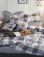 cheap -Duvet Cover Sets Grid / Plaid Patterns Poly / Cotton Reactive Print 3 Piece