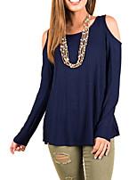 abordables -Tee-shirt Femme,Couleur Pleine Plissé Actif Basique