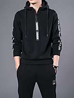 cheap -men's sports solid hooded hoodie regular, long sleeves spring