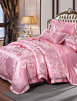 cheap -Duvet Cover Sets Luxury 4 Piece Silk/Cotton Blend Jacquard Silk/Cotton Blend 1pc Duvet Cover 2pcs Shams 1pc Flat Sheet