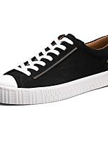 baratos -Homens sapatos Couro de Porco Primavera Outono Conforto Tênis para Casual Ao ar livre Preto Cinzento Khaki
