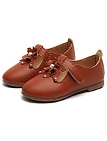 cheap -Girls' Shoes PU Leather Spring Summer Comfort Flats Rivet Flower for Casual Dress Brown Red Pink