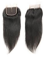 Недорогие -Laflare Малазийские волосы Прямой силуэт 4x4 Закрытие С детскими волосами Уток Швейцарское кружево Натуральные волосы Реми Бесплатный