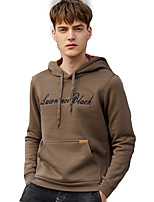cheap -Men's Simple Long Sleeves Loose Hoodie - Letter Hooded