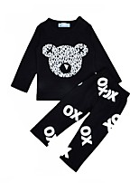 cheap -Unisex Daily Holiday Print Clothing Set, Cotton Spring Fall Long Sleeves Casual Black