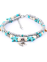 cheap -Bohemian Turquoise Silver Plated Anklet - Women's Turquoise Bohemian Fashion Bird Starfish Silver Plated Alloy Anklet For Daily Bikini