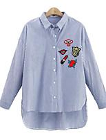 Недорогие -Жен. С принтом Рубашка, Рубашечный воротник Геометрический принт Вспышка рукава