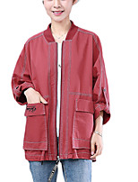 cheap -Women's Casual Denim Jacket-Solid Colored,Oversized