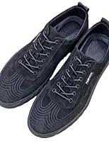 Недорогие -Муж. обувь Свиная кожа Весна Осень Удобная обувь Кеды для Повседневные Черный Серый