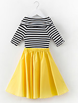 cheap -Girl's Daily Striped Dress, Polyester Summer Simple Green Yellow