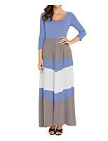 abordables -Femme Bohème Coton Mince Balançoire Robe - Basique Mosaïque, Couleur Pleine Taille haute Col en U Maxi