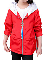 cheap -Girls' Daily Sports Solid Print Jacket & Coat, Polyester Spring Fall Long Sleeves Simple Casual Red Navy Blue