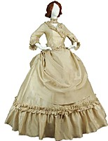 cheap -Victorian Rococo Costume Women's Adults' Outfits Beige Vintage Cosplay Taffeta 3/4-Length Sleeve Puff/Balloon
