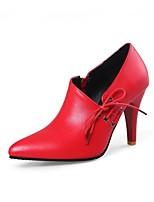 abordables -Femme Chaussures Similicuir Printemps Eté Confort Chaussures à Talons Talon Aiguille Bout pointu pour De plein air Noir Rouge
