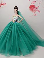 Недорогие -Платья Платье Для Кукла Барби Армейский зеленый Тюль Кружево Шелково-шерстяная ткань Платье Для Девичий игрушки куклы