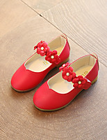 cheap -Girls' Shoes PU Leather Spring Summer Flower Girl Shoes Comfort Flats Flower for Casual Dress White Fuchsia Pink