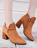 Недорогие -Жен. Обувь Полиуретан Весна Осень Ботильоны Удобная обувь Ботинки На толстом каблуке Ботинки для Повседневные Черный Коричневый