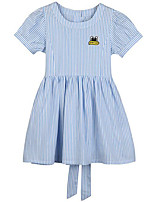 cheap -Girl's Daily Solid Dress, Cotton Spring Summer Short Sleeves Casual Active Blue