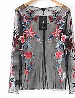 baratos -Mulheres Blusa Básico Estampado,Floral