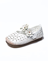 cheap -Girls' Shoes PU Leather Spring Summer Comfort Flats Flower for Casual Dress White Red Pink