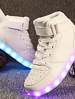 cheap -Girls' Boys' Shoes Leatherette Spring Fall Light Up Shoes Comfort Sneakers Walking Shoes LED Hook & Loop Lace-up for Casual Outdoor White