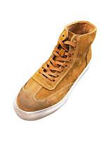 abordables -Homme Chaussures Croûte de Cuir Hiver Automne Confort Basket pour Décontracté De plein air Noir Gris Kaki