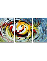 cheap -Oil Painting Hand Painted - Abstract Comtemporary Modern Canvas Three Panels