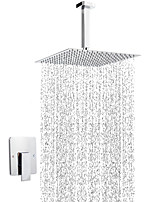 cheap -Contemporary Shower Only Rain Shower Ceramic Valve Single Handle Three Holes Chrome, Shower Faucet