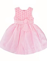 cheap -Girl's Daily Holiday Floral Dress, Cotton Polyester Summer Sleeveless Cute Blushing Pink